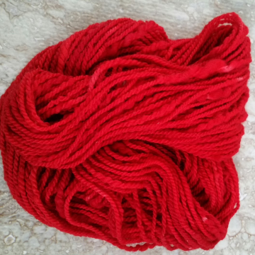 """Flame Red"" hand-dyed wool yarn"