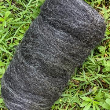 Shetland - natural black + grey roving