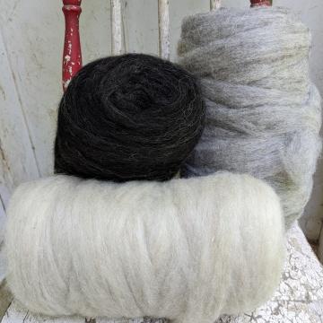 Shetland natural color roving sample pack